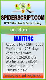 ooJpiued Monitoring details on SpiderScript.COm