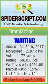 JimmiXzSqc Monitoring details on SpiderScript.COm