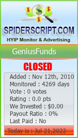Monitored by SpiderScript.Com HYIP Lister Script